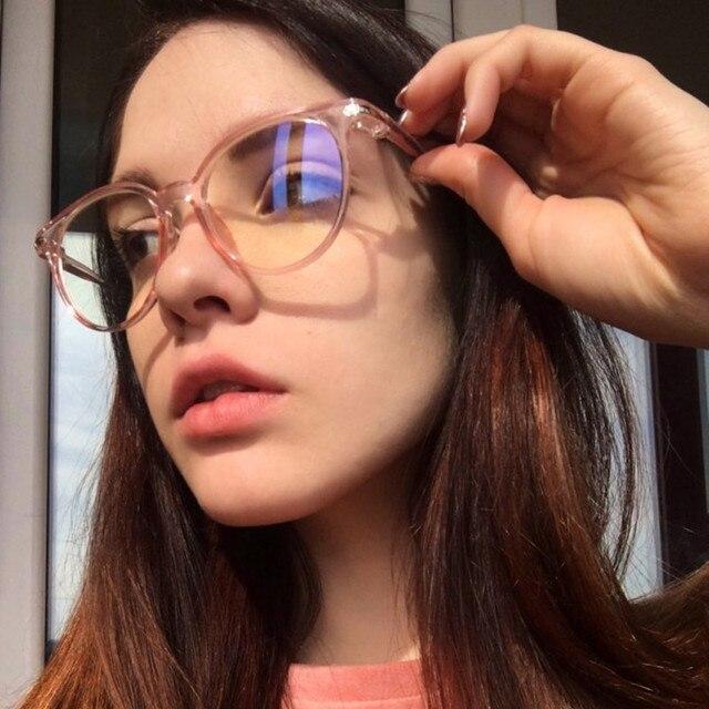 4a0d6061c Retro Óculos Moldura para Miopia Armações de Óculos Das Mulheres Dos Homens  Do Vintage Oval Rosa