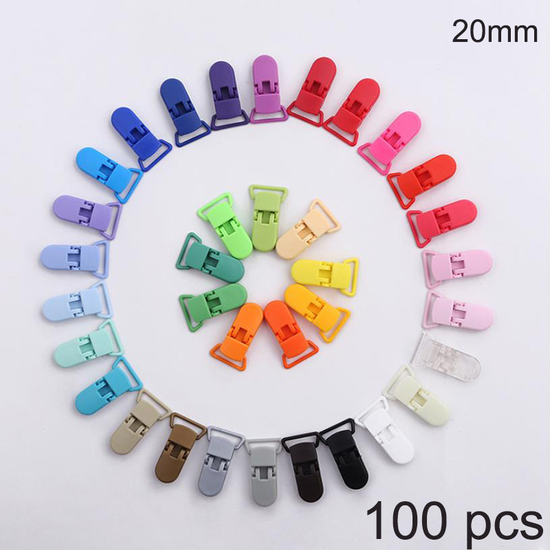100 Pcs Multicolor Plastic Baby Pacifier Clips 20mm Soother Holder For Baby Pacifier Nipples Holder Baby Accessories