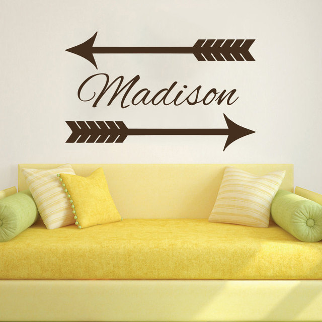 Personalized Name Custom Decals Art Home Decor Arrow Mural Wall ...
