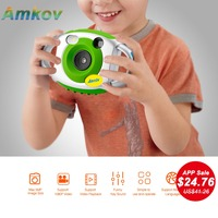AMKOV 5MP HD Mini Kids Camera Portable Cute Kid Creativity Neck Children Camera Photography Support Video Recording 32GB SD Card