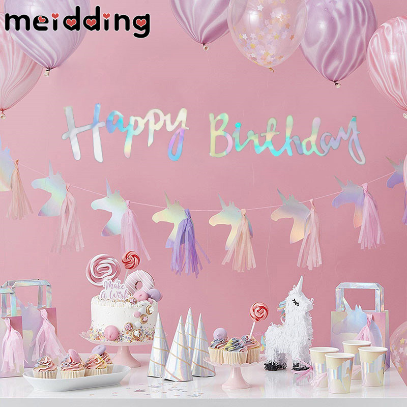 MEIDDING Shiny Unicorn Tassel Banner Unicorn Party Decoration Baby Shower Birthday Banner Bunting Garland Flags Party Supplies