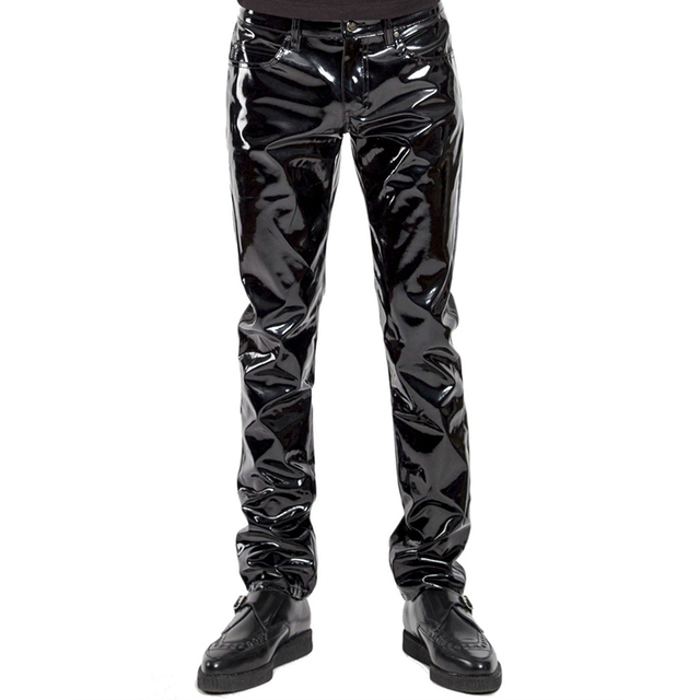 Mens Lingerie Wetlook Slim Fit Shiny Patent PVC Leather Latex Nightclub Party Tight Pants Leggings Trousers with Open Penis Hole