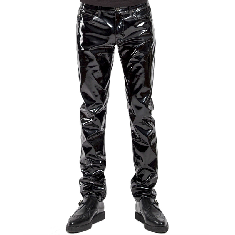 Mens Lingerie Wetlook Slim Fit Shiny Patent PVC Leather Latex Nightclub Party Tight Pants Leggings Trousers with Open Penis Hole image