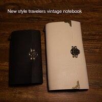 Neue reisende journal notebook handarbeit aus echtem leder notebook spiral 2 innenseite papier und PVC halter frei gravieren name