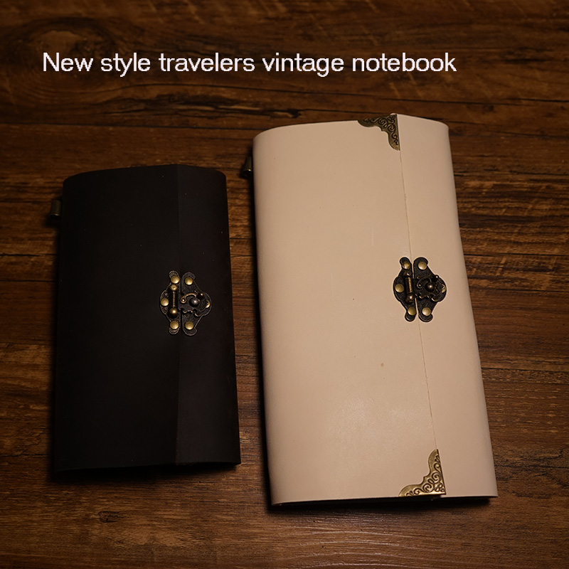 New travelers journal notebook handmade genuine leather notebook spiral 2 inside page paper and PVC holder free engrave name cross page 2