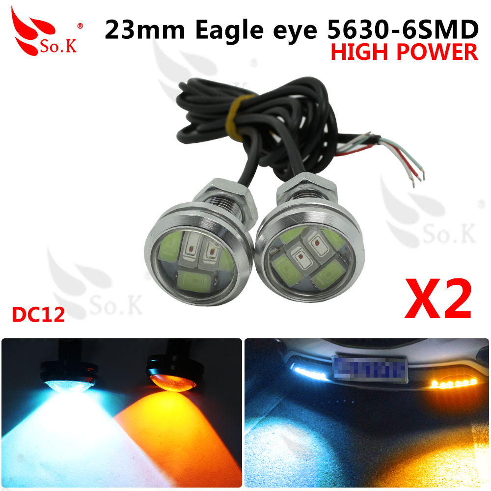 2pcs 23mm Car styling LED DRL Eagle Eye Daytime runing lights Warning Fog lights with turning signal light  Switch Two Color leadtops 10pcs 23mm car styling led drl eagle eye daytime runing lights warning fog lights with turning signal light 12v auto db