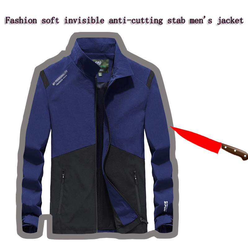 Selfdefense Anti-Cutting Stab Personal Hack Fashion Stitching Men Jacket Hidden Tactical Military Safety Cut Resistant Clothing
