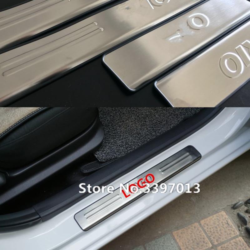 Фунтов лёгкий нейлоновый трос из нержавеющей стали накладки для порогов автомобиля 4 шт./компл. автомобильные аксессуары для KIA RIO k2 2011 2012 2013 стайлинга автомобилей