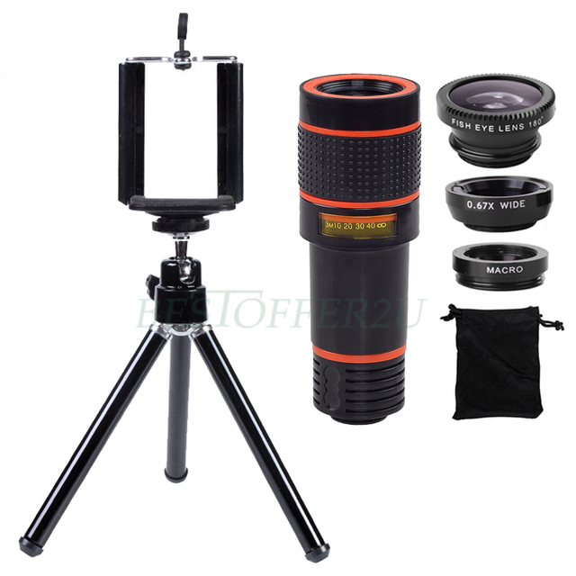 12X Teleobjetivo Zoom Lentes Telescopio Trípode Soporte de Gran Angular ojo de Pez macro lentes de microscopio del teléfono para huawei p7 p8 lite P9