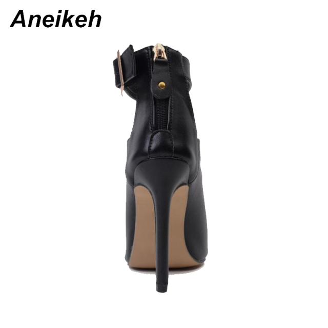 Aneikeh Gladiator Women Pumps Ladies Sexy Buckle Strap Roman High Heels Open Toe Sandals Party Wedding Shoes Size 35-40 Black  3