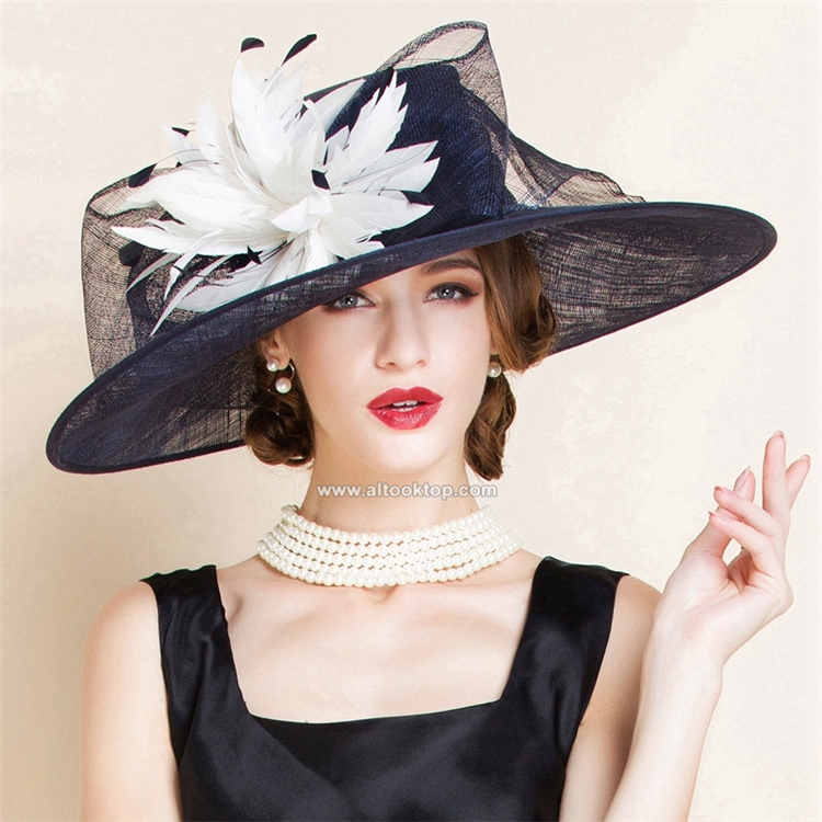 Fedora feather kentucky derby hats for tea party dresses white black women church hats elegant wide brim hat chapeau femme fancy