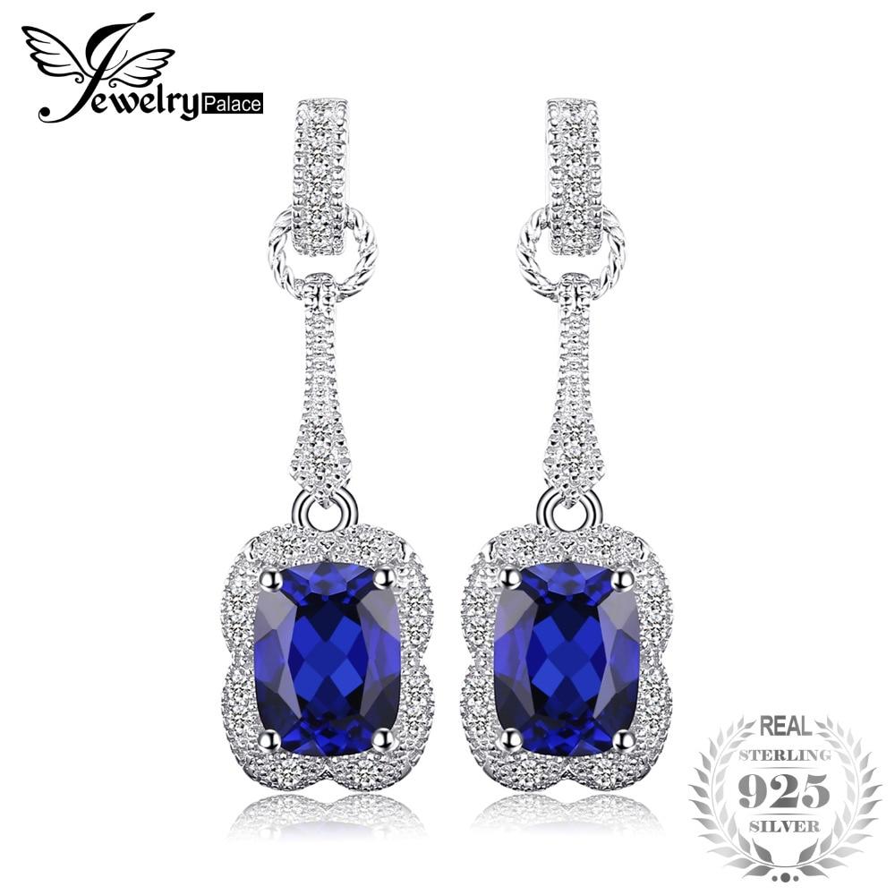 SmyckenPalace Elegant Rektangel 3.7ct Skapad Safir Drop Dangle Örhängen 925 Sterling Silver Märke Smycken För Kvinnor Ny