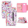 Unicorn PU Leather Wallet Stand Card Slots Holder W/Strap For Samsung S4/S5/S6 Edge/J5/G360F/G530F/Note 5/S7/S7 Edge/A310F