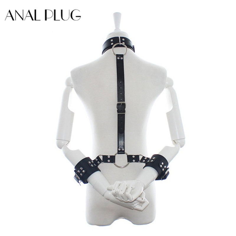 Pu Leather Harness <font><b>Sex</b></font> Slave Bondage <font><b>Collar</b></font> leash Handcuffs Neck <font><b>Dog</b></font> <font><b>Collar</b></font> <font><b>Sex</b></font> Adult Games Toys For Couples Woman image
