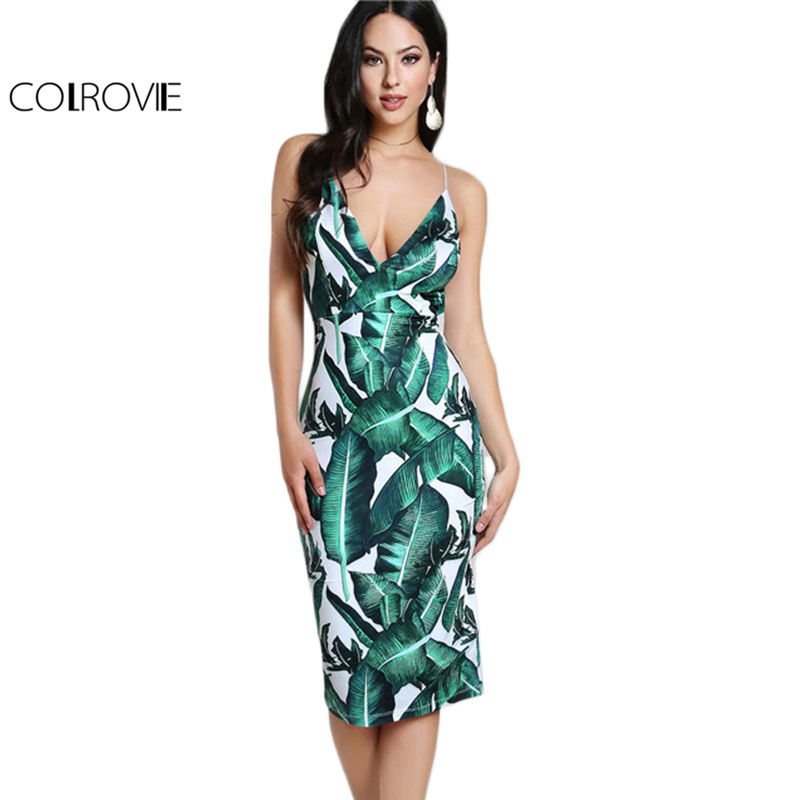 COLROVIE Backless Fitted Slip Dress Green Tropical Print Sexy Women Summer Dresses 2017 Plunge Neckline Bodycon Club Party Dress