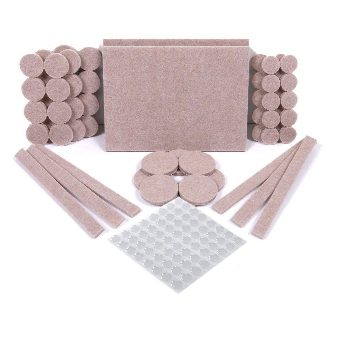 HOT SALE 124 pcs-60 Self Stick Furniture Felt Pads For Hardwood Floors&64 Noise Dampening Rubber Bumper Pads