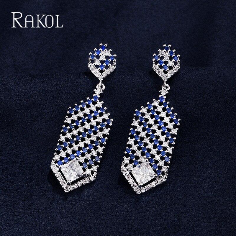 Trend Mark Rakol Elegant Micro Paved Blue Clear Zircon Long Drop Earrings Setwhite Gold Color Dangle Symmetrical Earrings For Women Dinner
