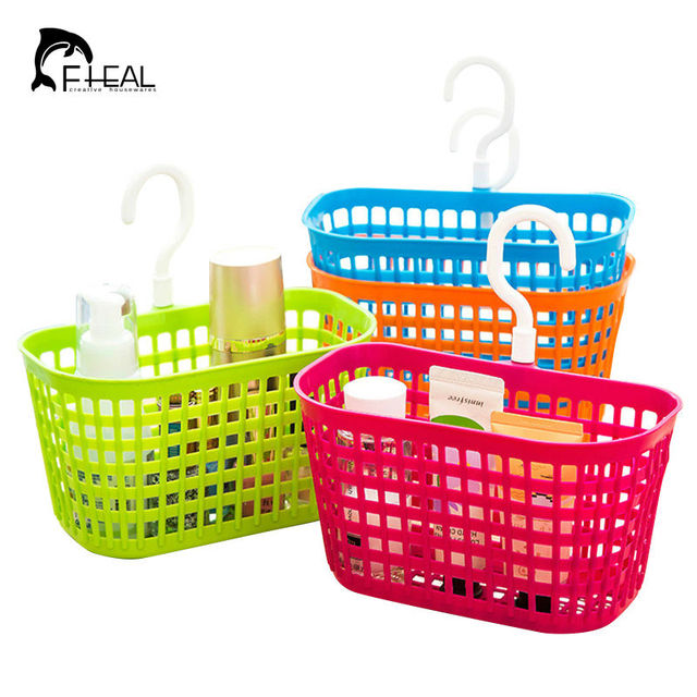 FHEAL Portable Plastic Hanging Storage Basket With Hook Bathroom Toiletries  Organizer Holder Cosmetic Sundries Storage Bag
