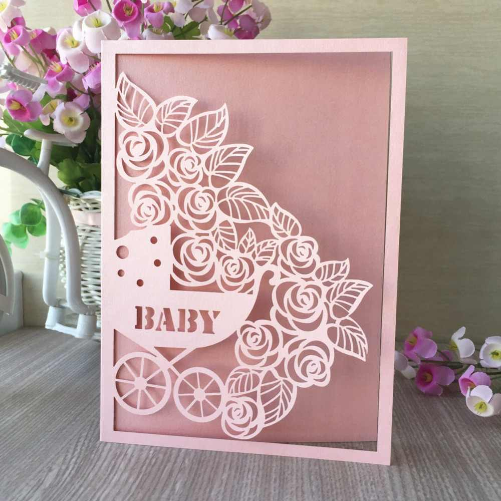 50Pcs New Laser Cut Pearl paper Blessing Card Baby Shower 1st birthday Party Decoration Invitation card Greeting card