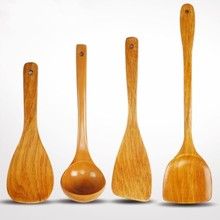 Wood Kitchen espatula wood cocina 4 pcs sets cooking Turners, High Heat Resistance for Non Stick Cookware kitchen spoon page turners 4 trust