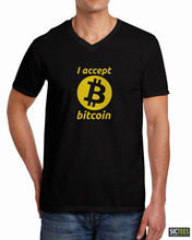 Funny Crypto ACCEPT BITCOIN Coin Mining Bit Coin Fashion Men  T-shirt  Free Shipping