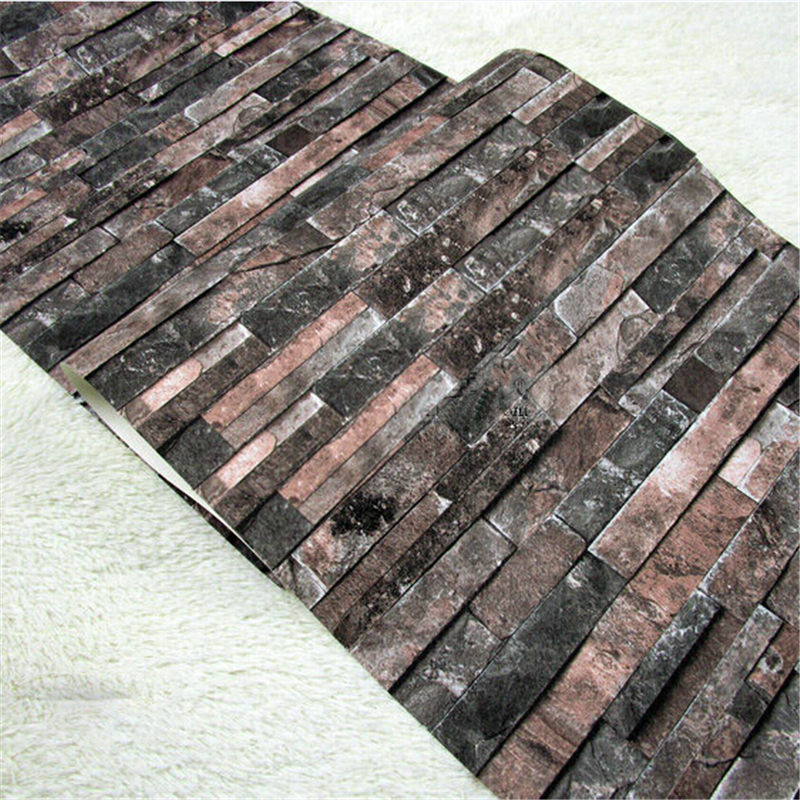 beibehang PVC Vintage Wall paper 3D wood brick designs stripe pattern Bedroom TV Sofa Blackground home decoration Wallpaper R456