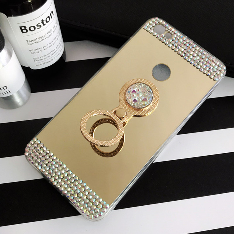 Mirror Cover Ring holder 3D Bling Diamond Back Case For Xiaomi Redmi Note 5A Prime Pro Note 5 MI 5X A1 Redmi 5 Plus Holder Cover