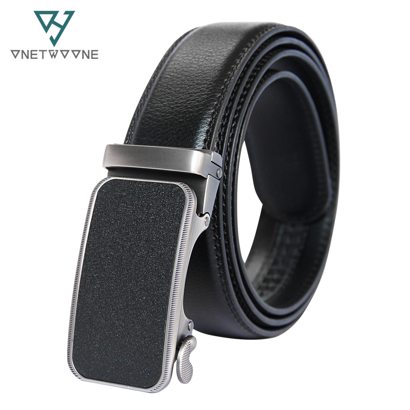 Brand Fashion Automatic Buckle Black Genuine Leather Belt Men's Belts Cow Leather Belts for Men 3.5cm Width 135cm Adjustable
