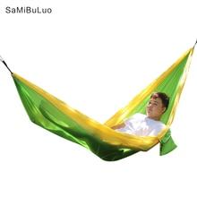 SAMIBULUO 2019 Summer Hammock Portable Nylon Hamaca With Tree Hanging Straps Best Double Gamak For Camping Hiking Beach Travel sunnydaze tree friendly adjustable hammock hanging straps