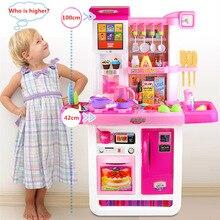 [Best] Большой размер 100 см высокий сенсорный экран пульт дистанционного управления кухонная игрушка настоящая водопроводная электронная звуковая кухонная игрушка для приготовления пищи