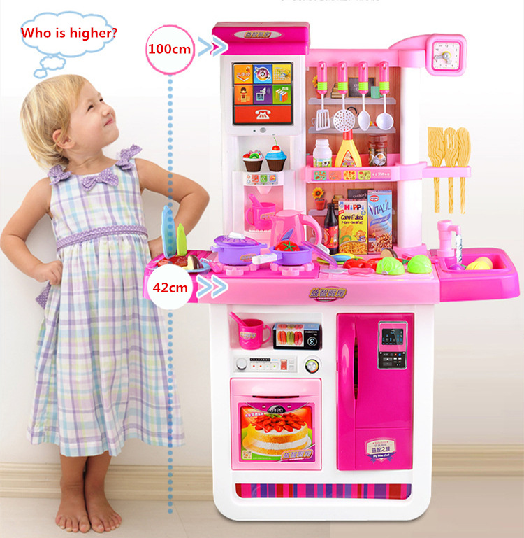 [Best] Large Size 100cm High Touch Screen Remote Control Kitchen Toy Real Water Tap Electronic Sound Sound Kitchen Cooking Toy