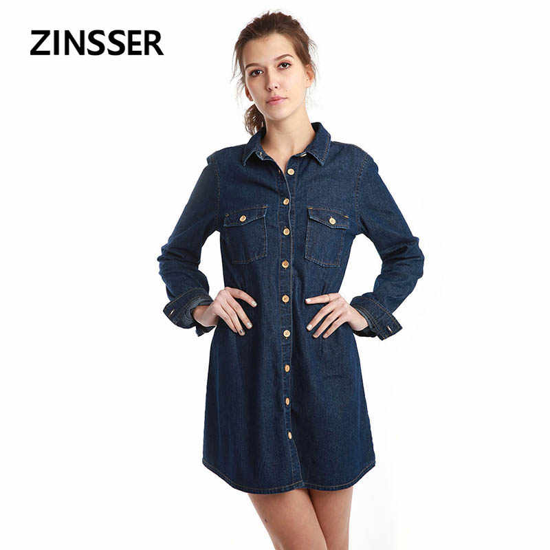 Autumn Winter Women Denim Fancy Shirt Dress Slim Long Sleeve 100% Cotton Washed Blue Female Lady Blouse Top