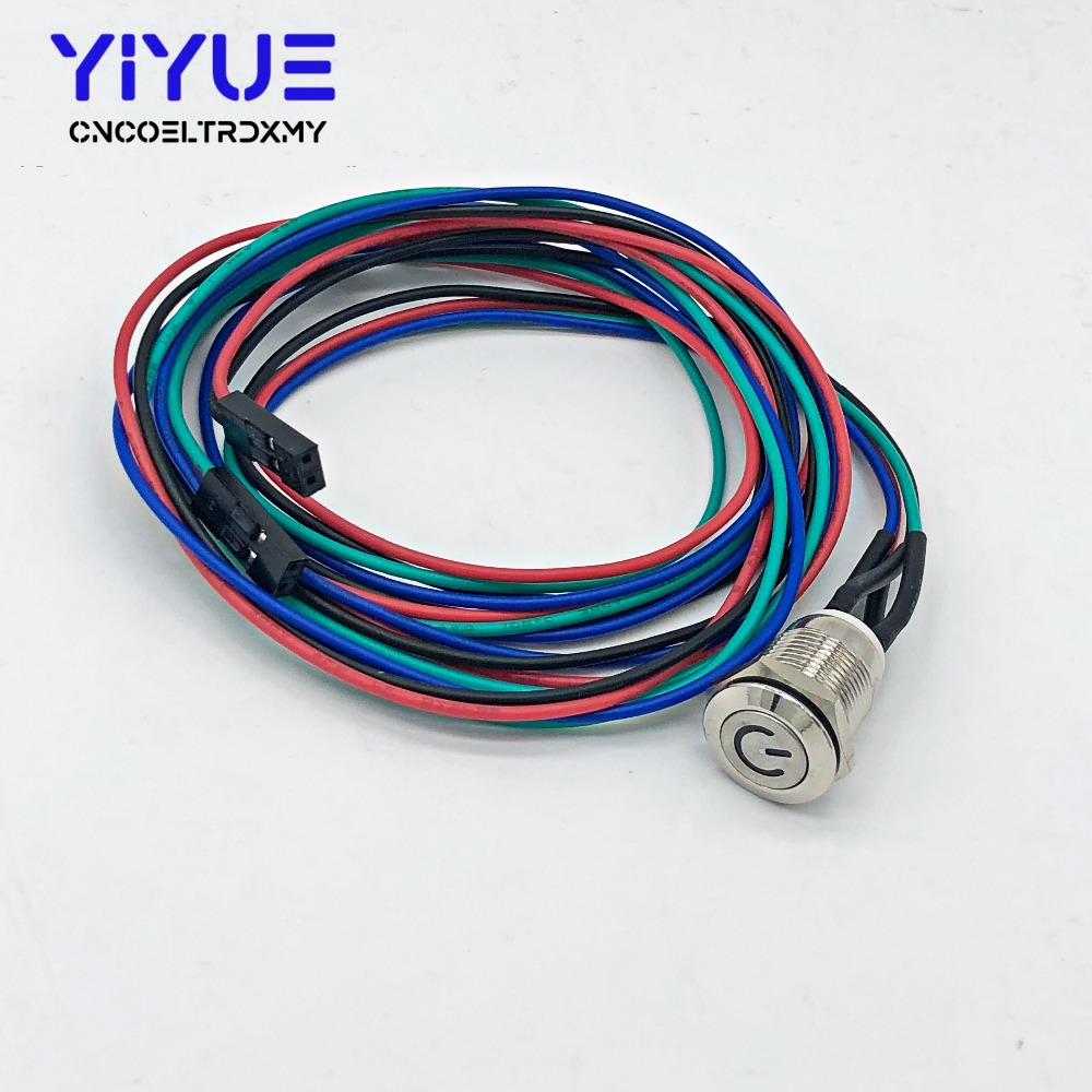1 Set Computer Waterproof Metal Push Button Switch On-off With LED Light 5V 12mm With 50cm Wire Harness Power Port Self-reset