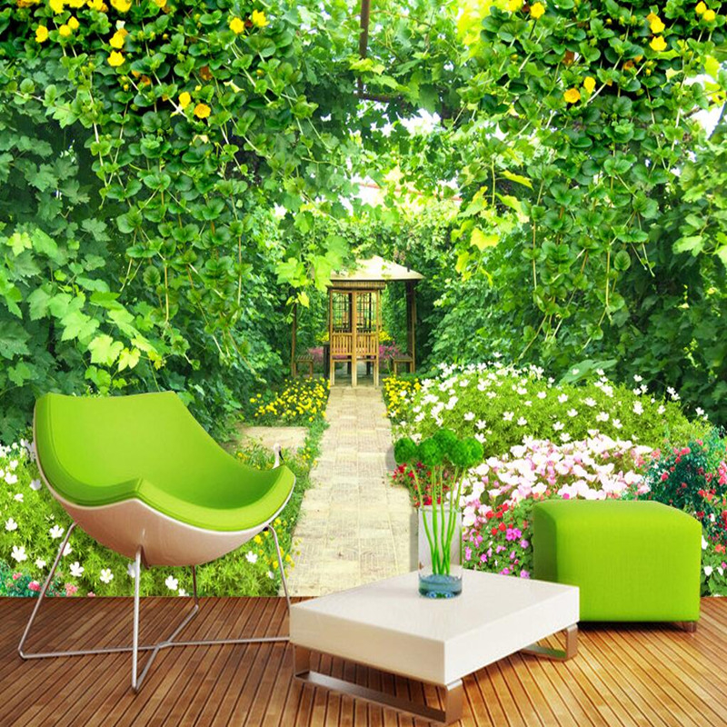 Custom 3D Wall Mural Nature in Wallpapers Landscape Green Rattan Garden Flower Wall Sticker Photo Wall Mural Forest Wallpaper 3D flower bridge river pattern 3d wall art sticker