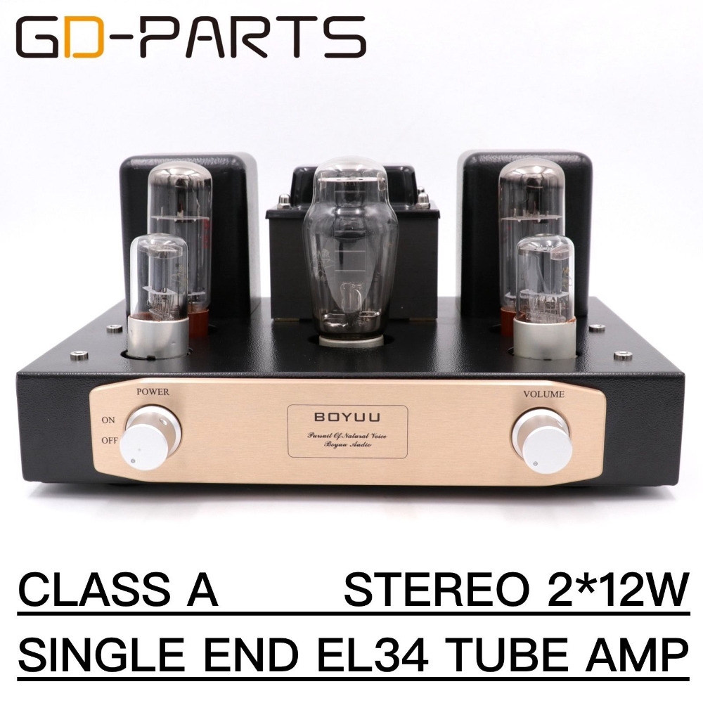 GD-PARTS Class A Single End EL34 Vacuum Tube Amplifier Vintage Tube Integrated Amplifier Hifi Stereo Vintage Tube AMP 12W music hall vacuum tube audio power amplifier class a hifi stereo hybrid av desktop amp usb support usb sd card play