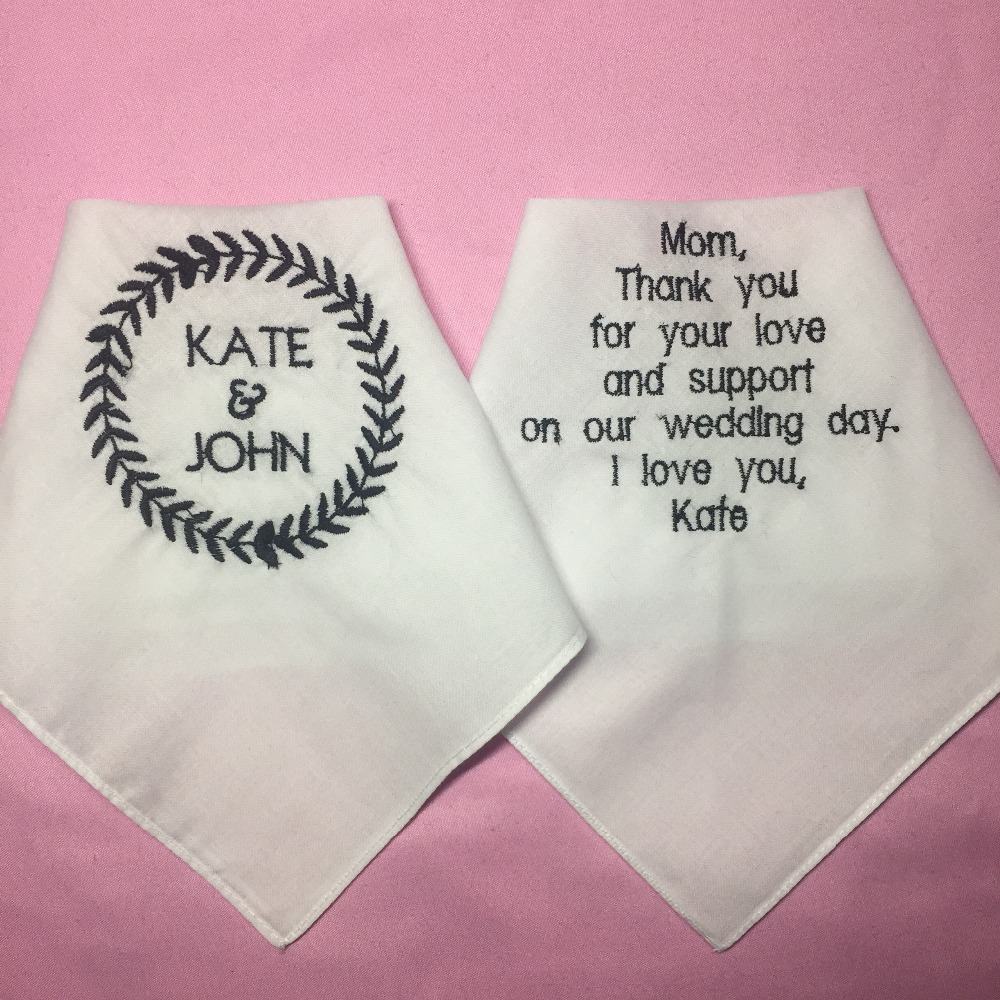 Embroidered Towels For Wedding Gift: Custom Wedding Gift To Bride Mother, Embroidered Wedding