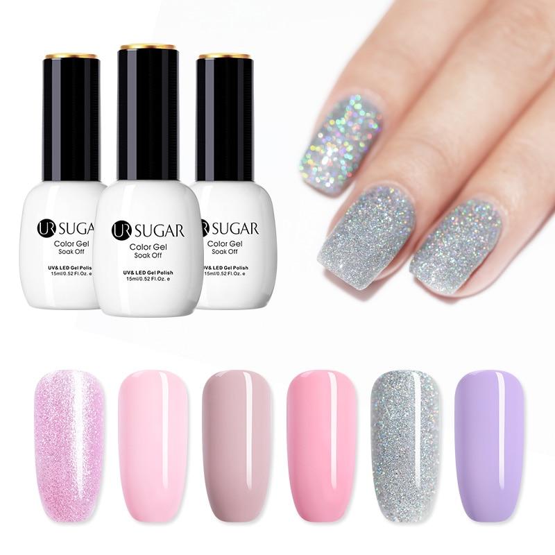 UR SUGAR 15ml UV Gel Polish Nude Pink Glitter Gel Nail