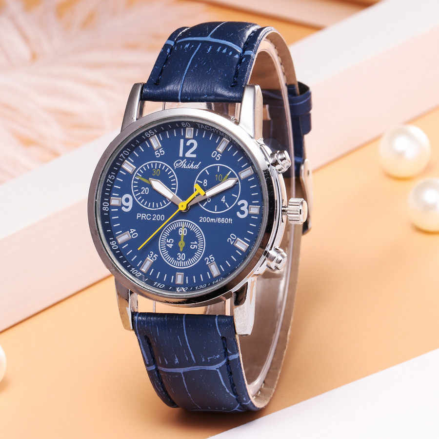 Men Fashion Watch Blue-ray Glass Neutral Quartz Simulates Wrist Epidermal Leather Strap Mens Watches Top Brand Luxury Reloj