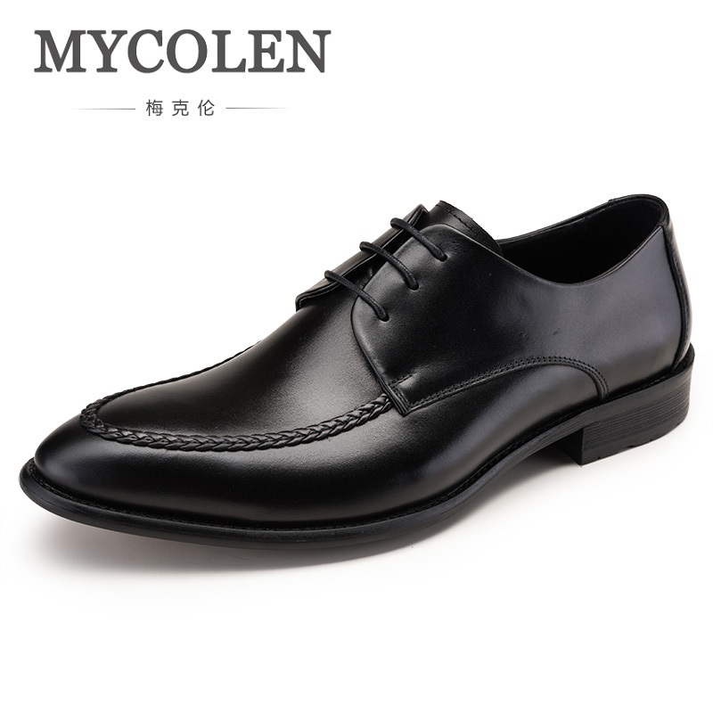 MYCOLEN Business Men Dress Shoes Genuine Leather Lace-Up Black Oxfords Shoes High Quality Derby Shoes Men Chaussures Hommes mycolen new arrived brand men shoes black oxfords shoes pointed toe men flat business formal shoes lace up men s dress shoes