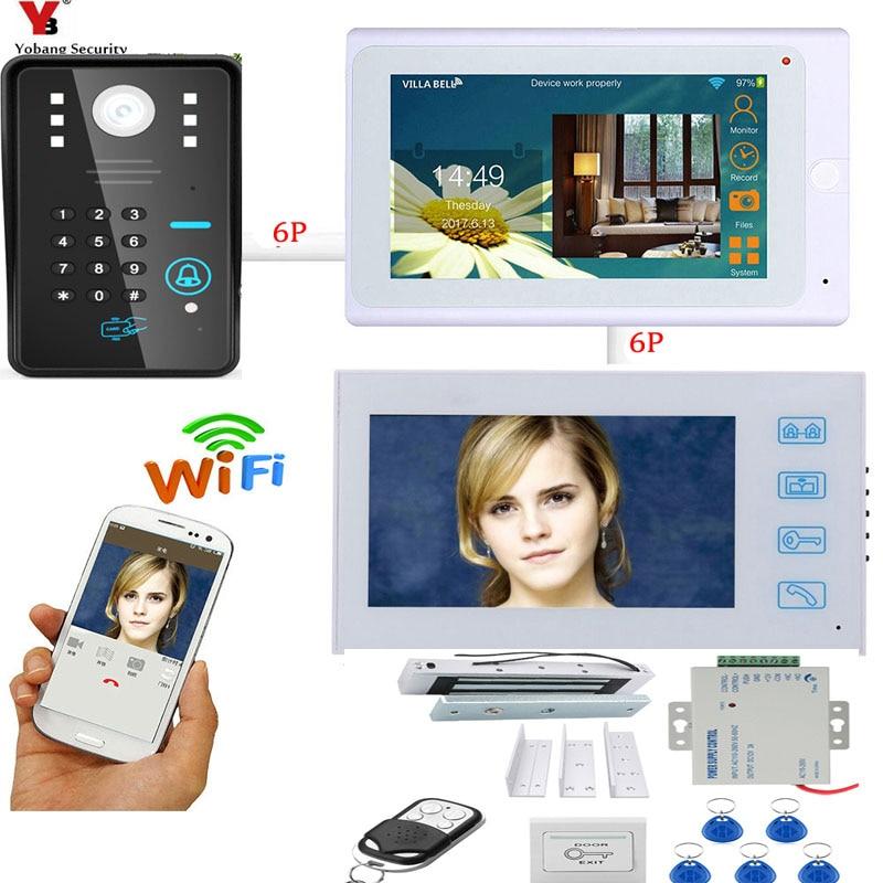 Yobang Security Wifi Wireless Video Doorbell Intercom 7inch Monitor Video Intercom Door Phone System Kit +Door Lock Power Supply