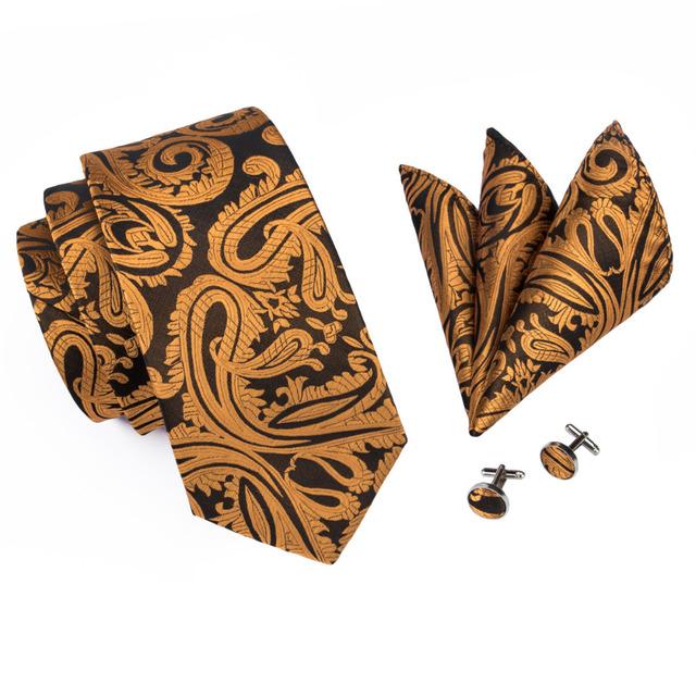 Dark Yellow Floral 100% Silk Tie, Hanky and Cufflinks Set.