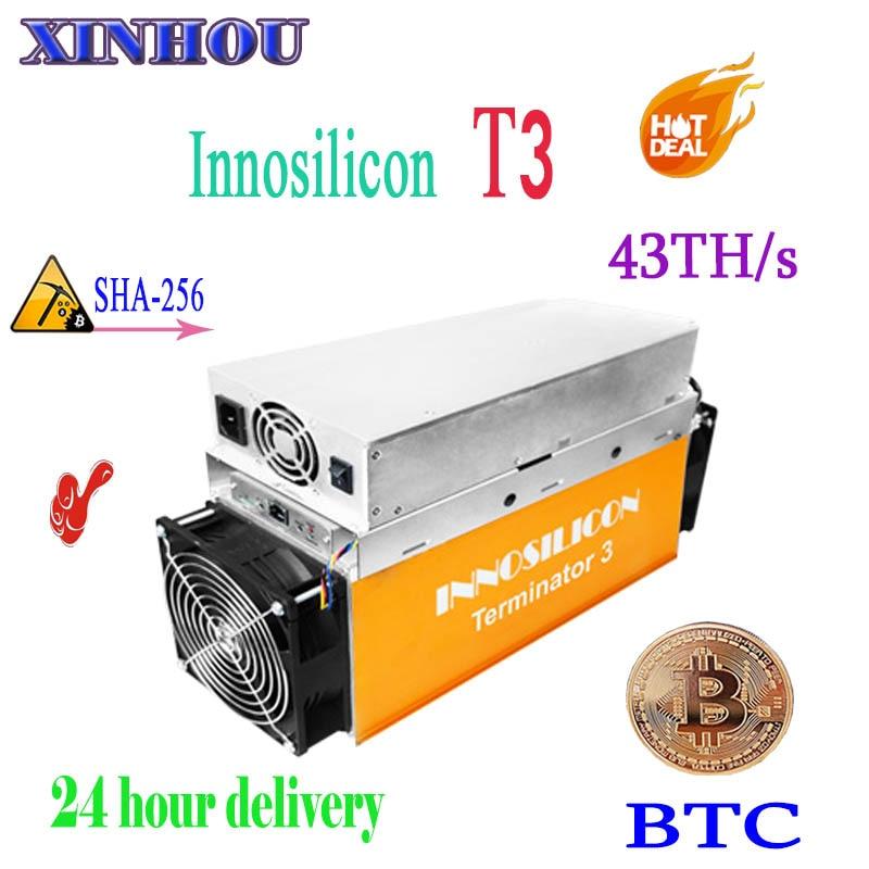 BTC BCH mineur Innosilicon T3 Terminator3-43T SHA256 asic bitcoin mineur mieux que T2T antminer s9 S15 T15 S11 yksminer M3 M10