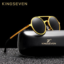 b5791ccafc KINGSEVEN 2019 gafas de sol de aluminio Vintage Steampunk para hombre  lentes redondas polarizadas gafas de sol para conducir gaf.