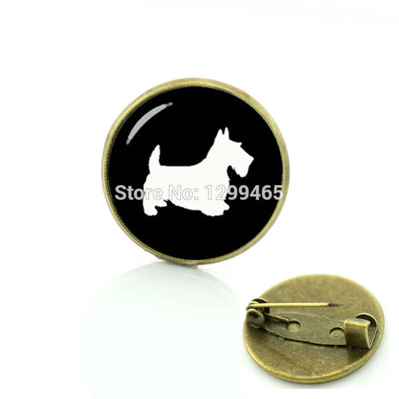 Scottish Terrier dog bros Terbatas Romantis aksesoris pin siluet Formal Novelty pet anjing Kuda Capung badge T504