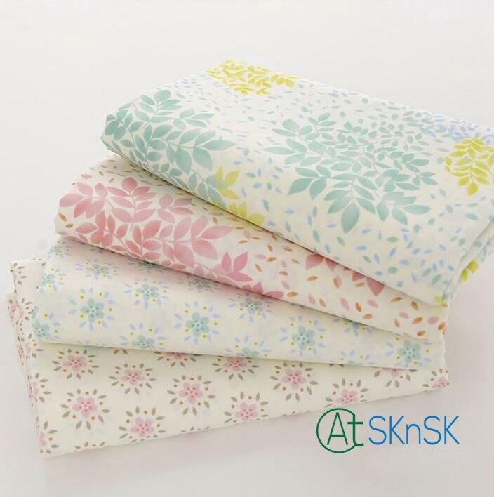 2 pcs/lot Bon Tissu confort tissu pour couette taie d'oreiller rideau vert ou rose feuilles imprimé couture patchwork coton tissus