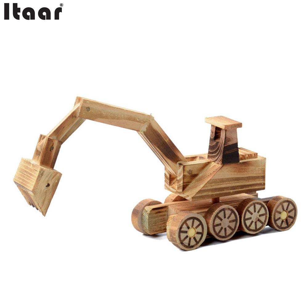 Wooden Simulation Excavator Model Kids Toys Crafts Home Office Decoration