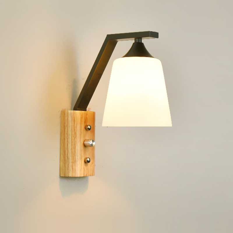 Nordic Solid Wood Bedroom Wall Light Fixture E27 90-260V Glass Wall Lamp for Stairs Corridor Aisle Switch Bedside Night LightsNordic Solid Wood Bedroom Wall Light Fixture E27 90-260V Glass Wall Lamp for Stairs Corridor Aisle Switch Bedside Night Lights