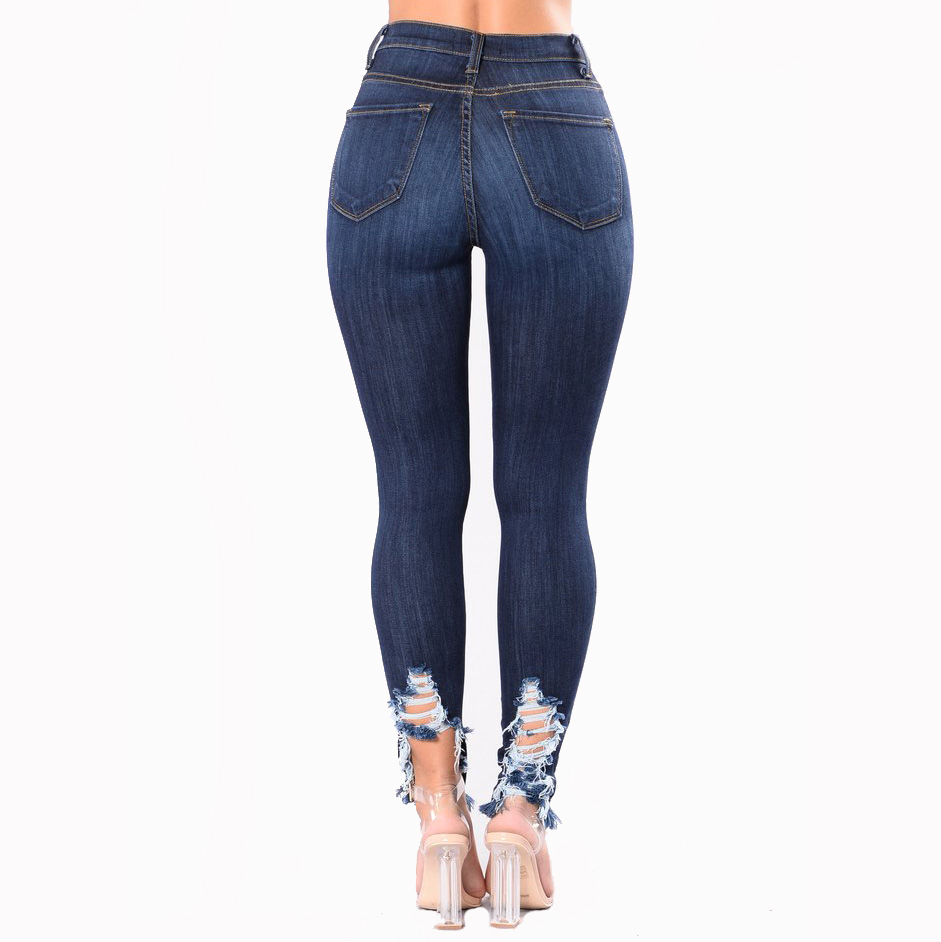 Casual Long Jeans Women Basic Classic High Waist Skinny Pencil Jeans Pants embroidery ripped hole Elastic Stretch Jeans
