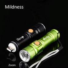 Mildness Flashlight portable mini USB XM-L T6 LED torch rechargeable 18650 Built-in battery waterproof flash light
