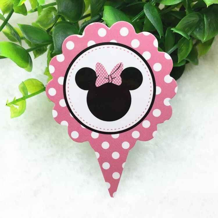 50 Uds. De la cabeza de Minnie Cupcake Toppers suministros para fiestas Mini tutú mesa de pastel de cumpleaños decoraciones para fiestas de niños